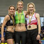 Podium 800 M Dames met vlnr Yentl Vandenberghe, Sofie Lauwers & Hanne Van Loock @ Kampioenschap van Vlaanderen - BLOSO Topsporthal - Gent